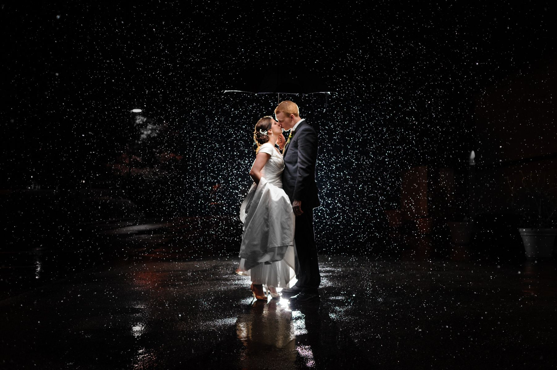 Bride and groom in the rain at night.