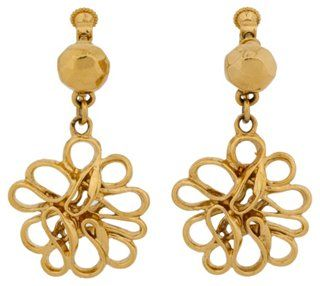 YSL Gold-Plated Floral Drop Earrings