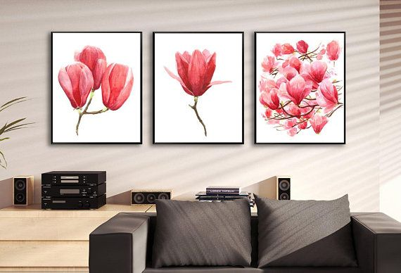 Printable magnolia set watercolor flowers of wall art prints decor and also rh pinterest