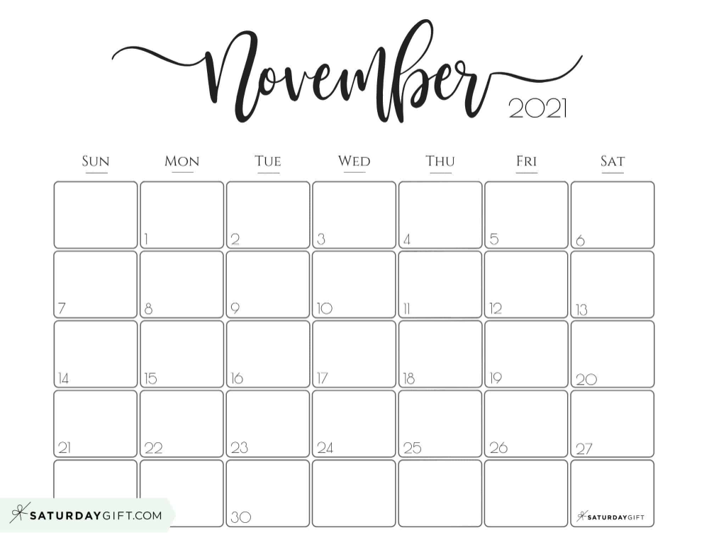 November Calendar 2021 Elegant 2021 Calendar by SaturdayGift   Pretty Printable Monthly