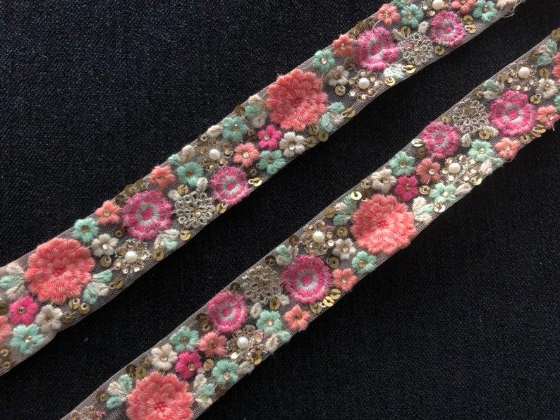 Pink Floral Embroidery Net Trim, Indian Embroidery Handmade Lace sequins pearls zari threadwork, Designer Sari Border,3.5 cm W,Price per mtr #indianbeddoll
