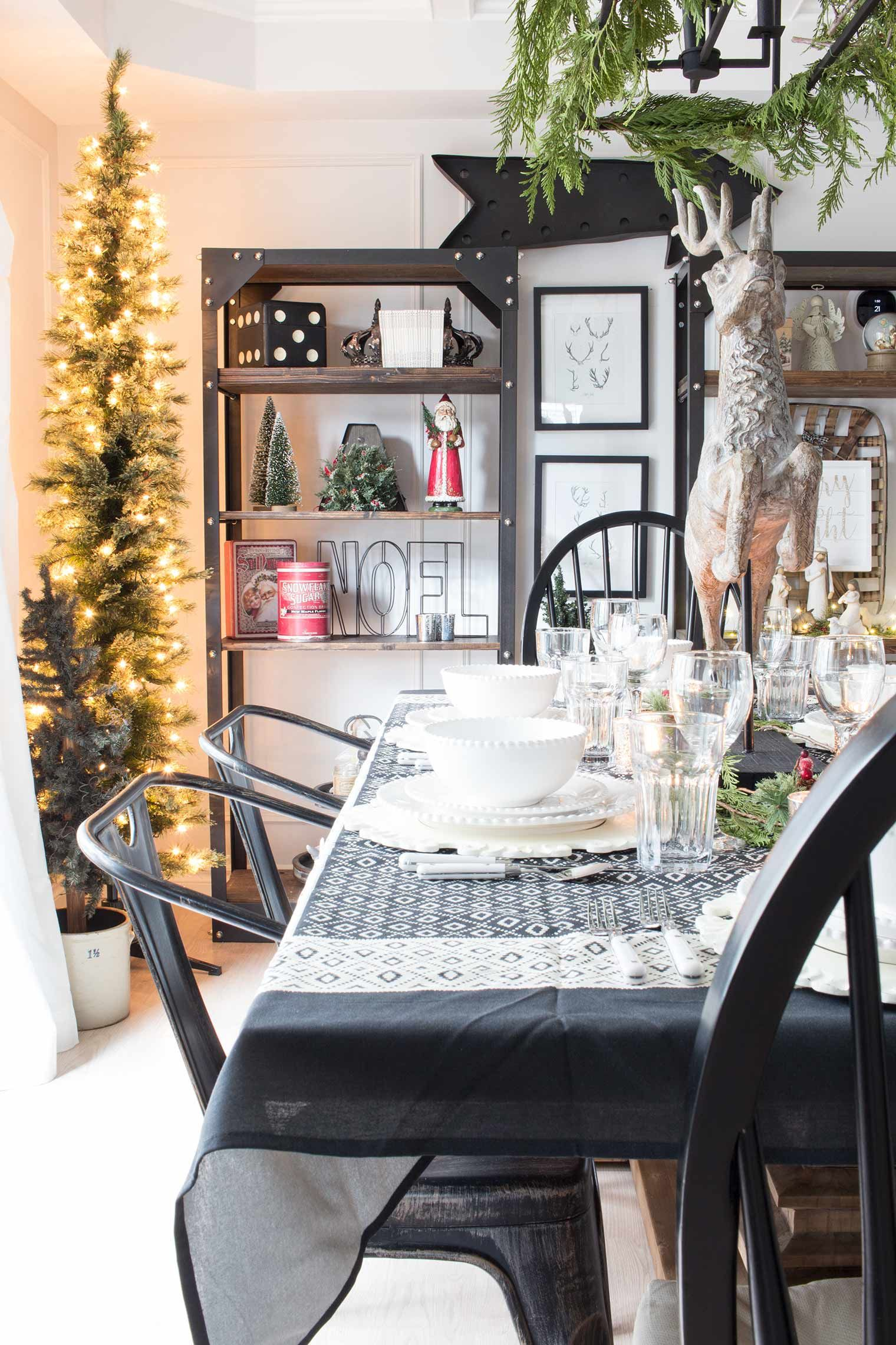 how to decorate your dining room and shelves the simple way for christmas - Simple Ways To Decorate Your House For Christmas