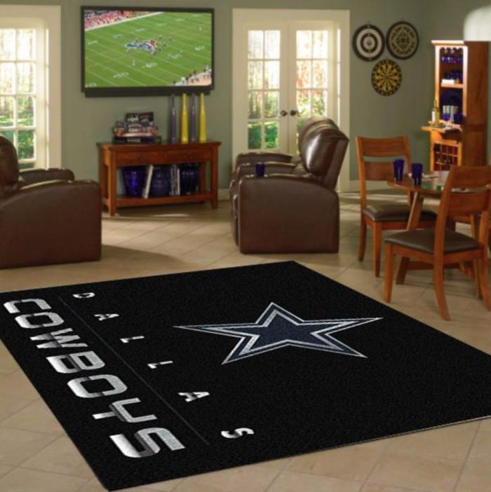 Dallas Cowboys Rug Chrome In 2020 Cowboy Rugs Dallas Cowboys Room Dallas Cowboys Decor