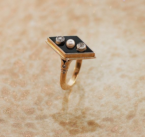 Vintage 14k Rose Gold Black Onyx, Diamond and Seed Pearl Ring