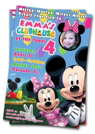 Minnie Mouse Birthday Invitations Printable Custom Kids Photo
