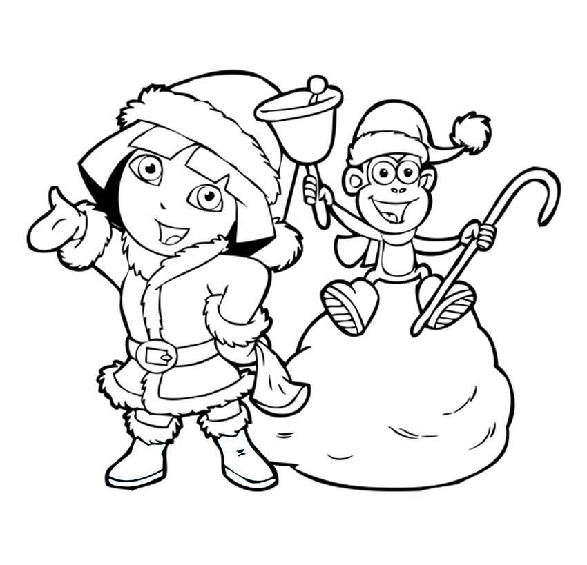 Dora Christmas Coloring Pages Free Images Stock