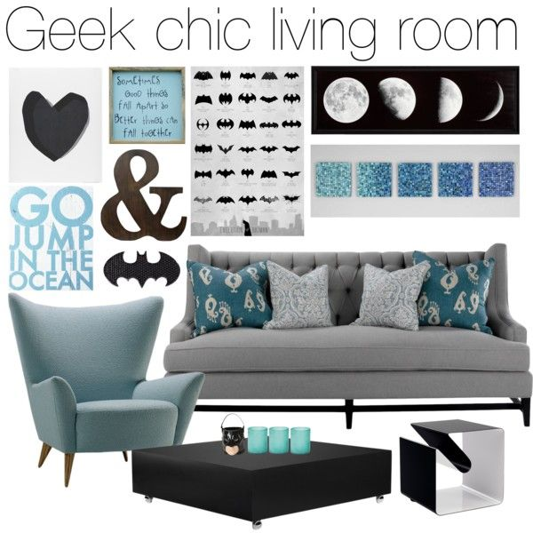 Geek Chic living room by jess on Polyvore featuring interior, interiors\u2026  Salon Chic,