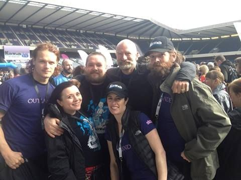 Thanks to everyone who donated money for the 45km Edinburgh Kilt Walk. I crossed the line, eating a pain sandwich with my legs no longer talking to me but it was worth it. 3000 pounds raised for the Royal Hospital for Sick Kids. Here we are at the start, Sam Heughan, Grant O'Rourke, Duncan La Croix, Keira Docherty, and Maril Davis. Team Outlander! The donation page is still open if you would like to add to our total. Thankyou. from Graham McTavish's facebook