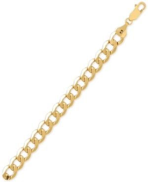 Men S Beveled Curb Link Chain Bracelet In 10k Gold Products