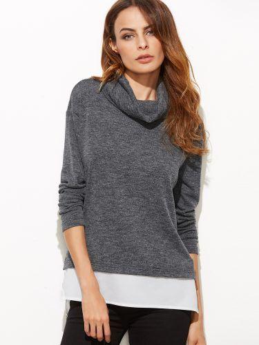 Grey Marled Cowl Neck Contrast Trim T-shirt