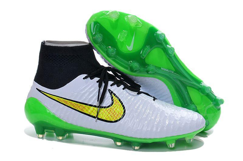 2014 Nike Magista Obra High tops FG ACC TPU Soccer Boots Cleats white black  green