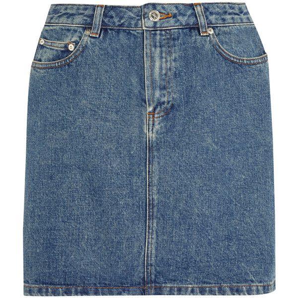 A.P.C. Atelier de Production et de Création Denim mini skirt ($160) ❤ liked on Polyvore featuring skirts, mini skirts, bottoms, denim, denim skirts, denim button skirt, denim skirt, blue skirt, a.p.c skirts and mini skirt