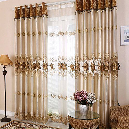 Hjmeifu Luxury Embroidery Window Sheer Curtains Panels Tulle One Piece 108 X 96 Inch Processed With Curtains Living Room Curtains Luxury Curtains