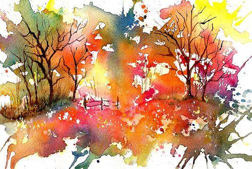 Splash And Splatter Fall Landscape In 2020 Watercolor Art