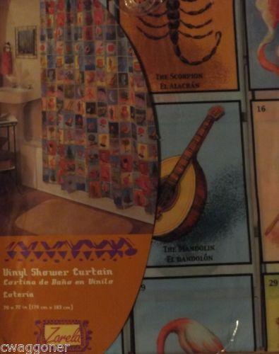 Zarela Loteria Shower Curtain Mexican Bingo Folk Art