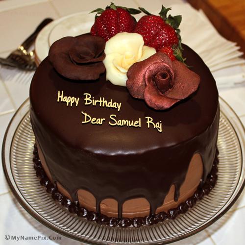 The Name Dear Samuel Raj Is Generated On Chocolate Birthday Cake
