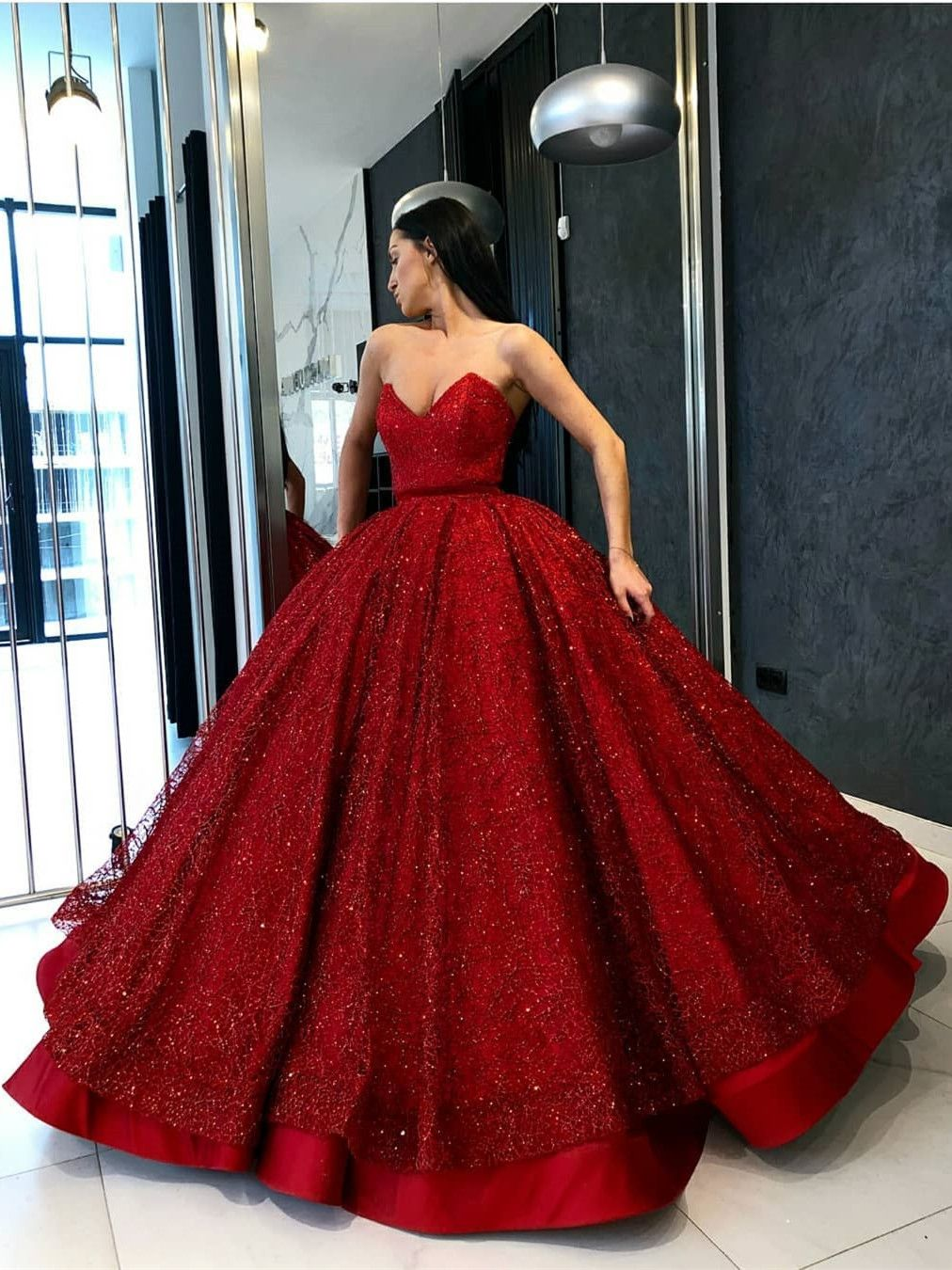 Ball gown sweetheart floor length red sequined quinceanera dress in