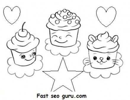 Free Print out Birthday mufien cake coloring pages for kids