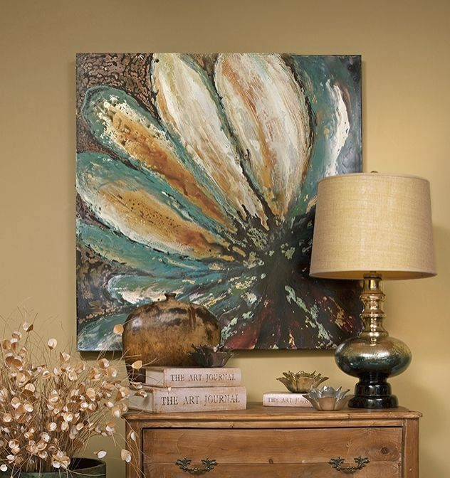 Petals of Energy Oil Painting - Amber tones burst from cool toned petals surrounded by a contrasting texture in this awe inspiring oil painting on canvas. IMAX exclusive!