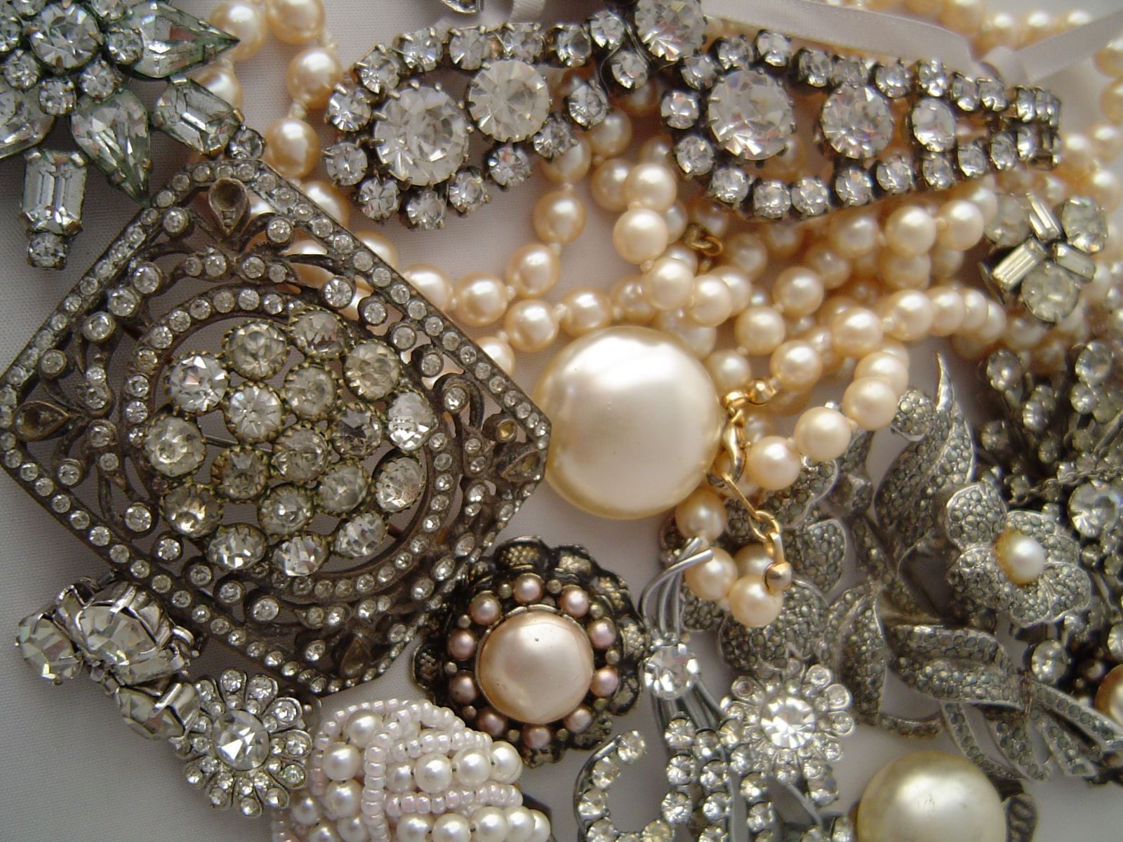 Vintage rhinestone and pearl jewelry
