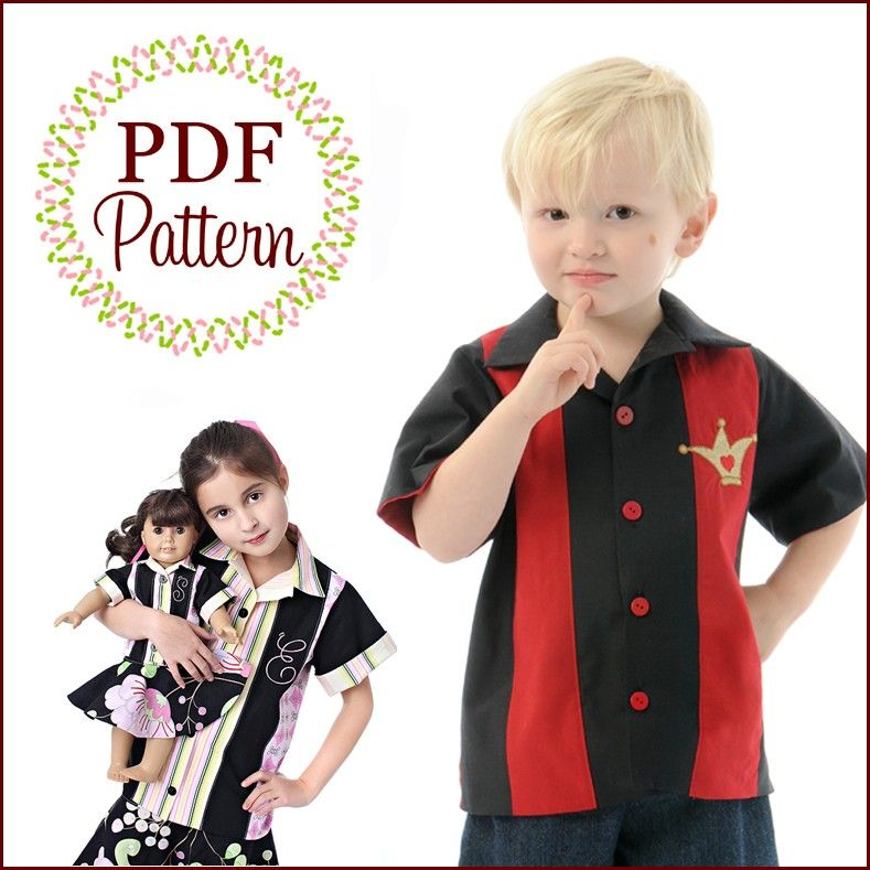 Boy's and Girl's Retro Bowling Shirt Sewing Pattern Etsy