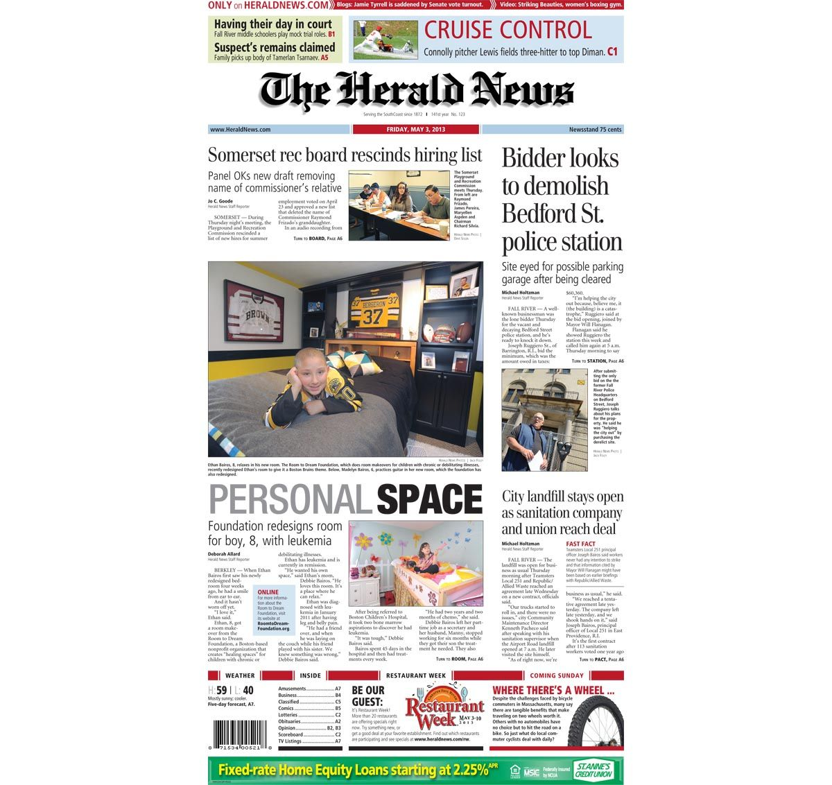 The front page of The Herald News for Friday, May 8, 2018