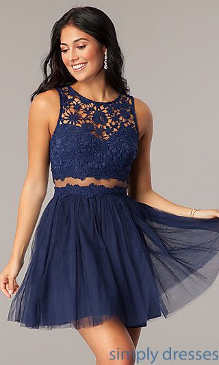 Shop mock-two-piece short homecoming dresses at Simply Dresses. Semi-formal  party dresses under  100 with illusion waists and embroidered lace. 4147c7c2a