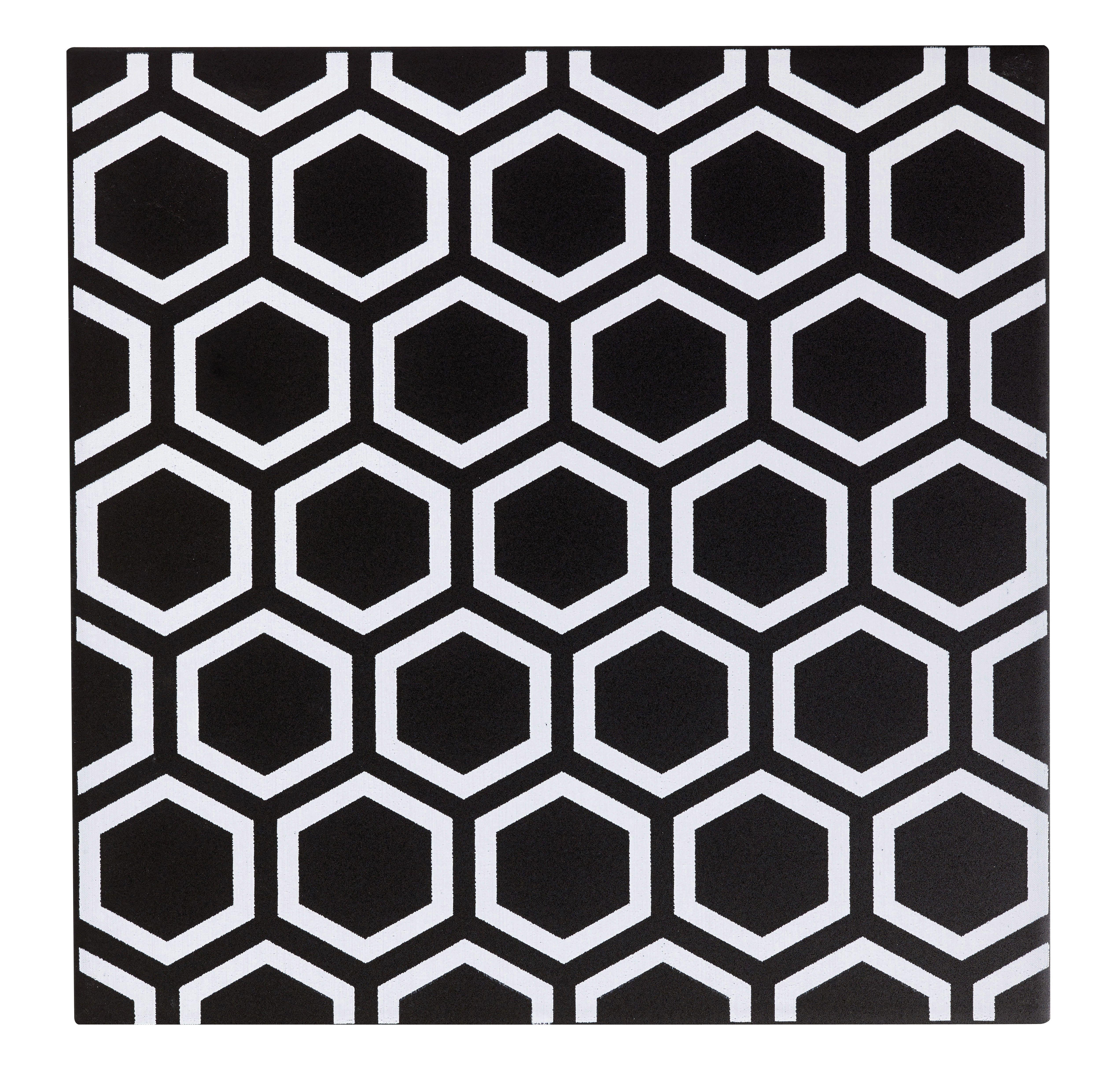 D cor astuce hexagone noir noir n 0 x cm for Carrelage noir