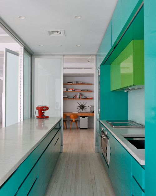Small Modern Galley Kitchen rather than traditional cabinets along the window and countertop