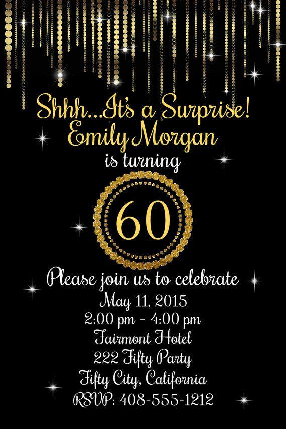 60 Cumpleaños 60a Invitación Invitación De 60 Cumpleaños
