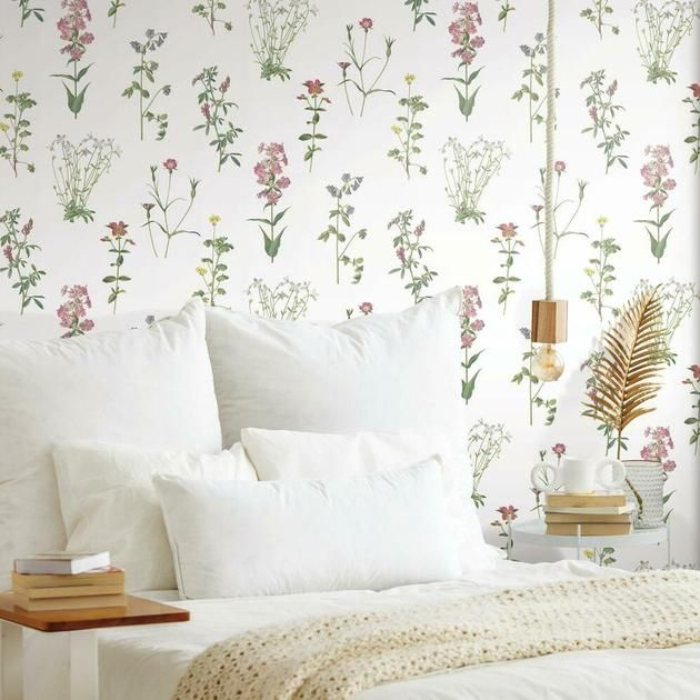 Botanical Peel And Stick Wallpaper In 2021 Peel And Stick Wallpaper Dorm Furniture Roommate Decor