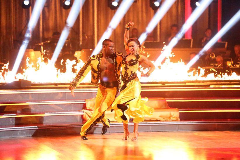 Karina Smirnoff, & Jacoby Jones  -  Dancing With the Stars  -  Season 16  -   Week 8  -  trio dance with Sheryl Burke  -  Karina & Jacoby placed 3rd for the season