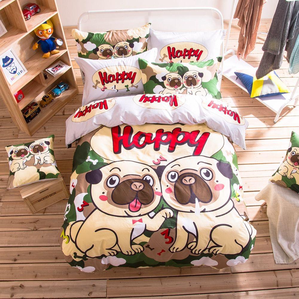 Dogs Print Bedding Set Cotton Duet Cover Bed Sheet Home Decor Pillowcase Queen Twin