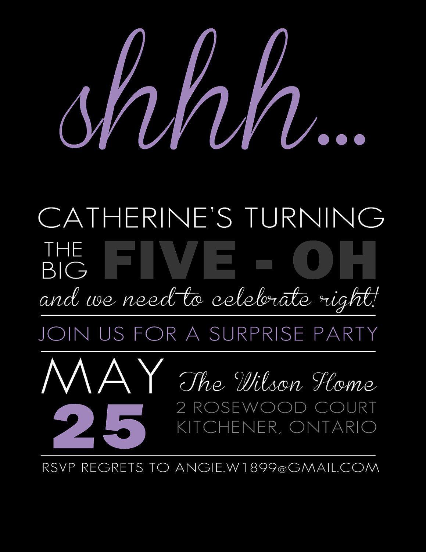 DIY printable surprise birthday party invitation card | Surprise ...