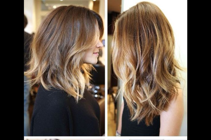 Ombre Hair Brown To Caramel To Blonde Medium Length Medium+Length+O...