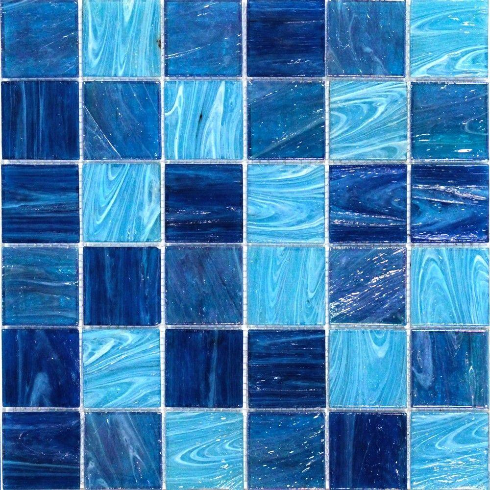 Splashback Tile Aqua Blue Ocean Mesh Mounted Squares Gl Floor And Wall 3 In X 6 Sample Polished Tiles
