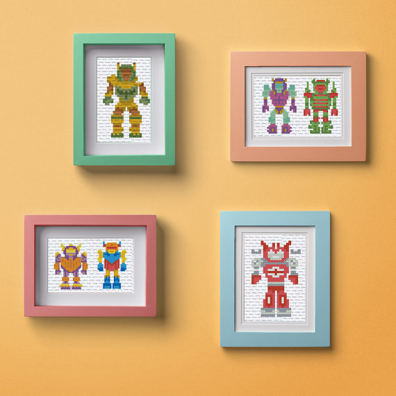 ROBOTS baby cross stitch pattern, transformers easy embroidery ...