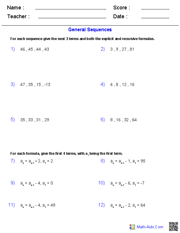 Algebra 2 Worksheets Algebra 2 Worksheets Sequence And Series