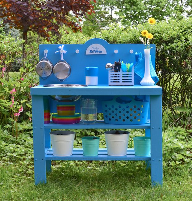 Blue Wood Play Kitchen diy outdoor play kitchen from a shelf | outdoor play kitchen