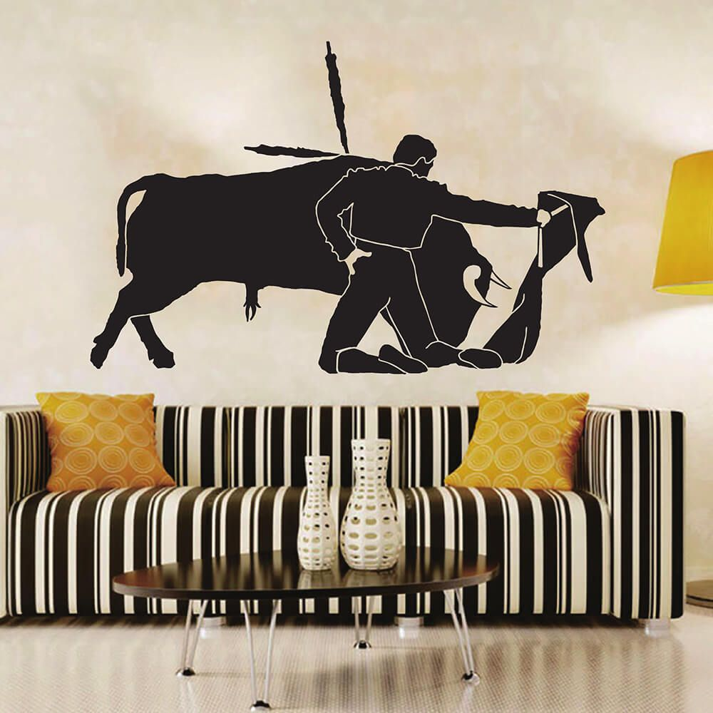 Zuczug Black Pvc Wall Stickers Spanish Bullfighter Is Crazy 3d