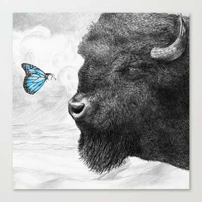 Bison and Butterfly (square format) Stretched Canvas by Eric Fan - $85.00