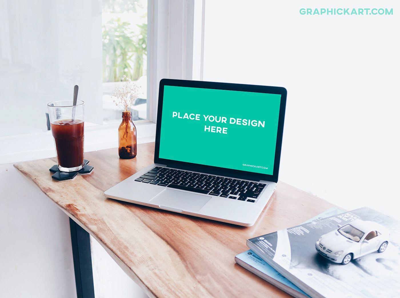 Free Laptop On Desk Mockup Mockup Desk Mockup Free Download Mockup
