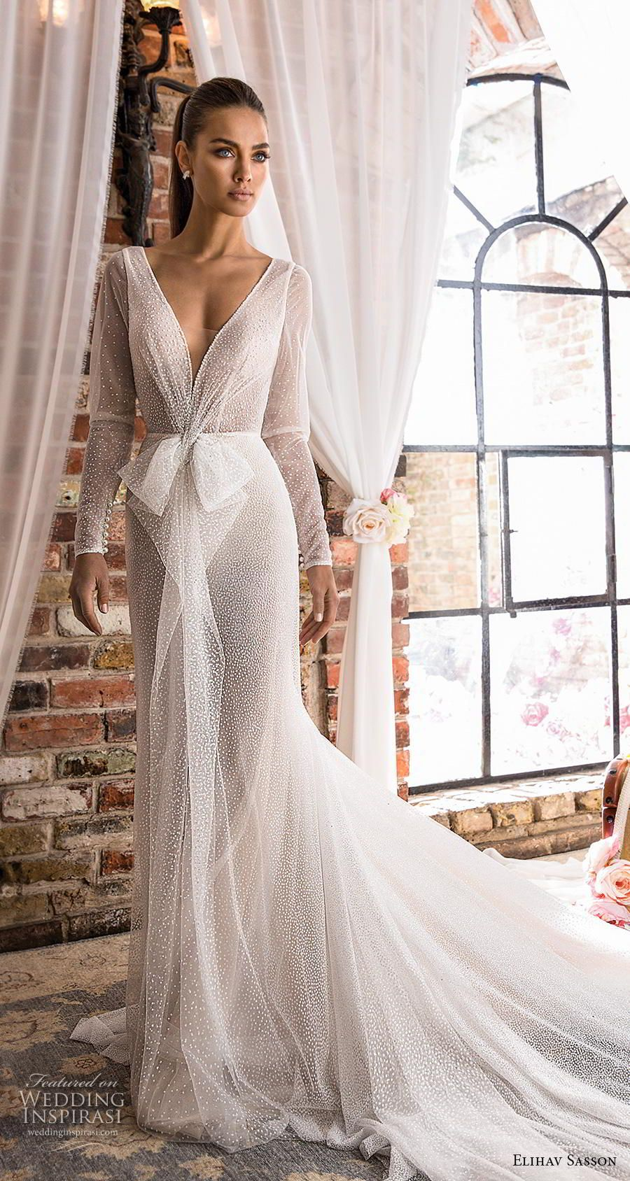 Elihav Sasson 2019 Bridal Long Sleeves Deep V Neck Full Embellishment Glitzy Elegant Sheath Wedding D Wedding Dresses Wedding Dresses Lace V Neck Wedding Dress [ 1688 x 900 Pixel ]
