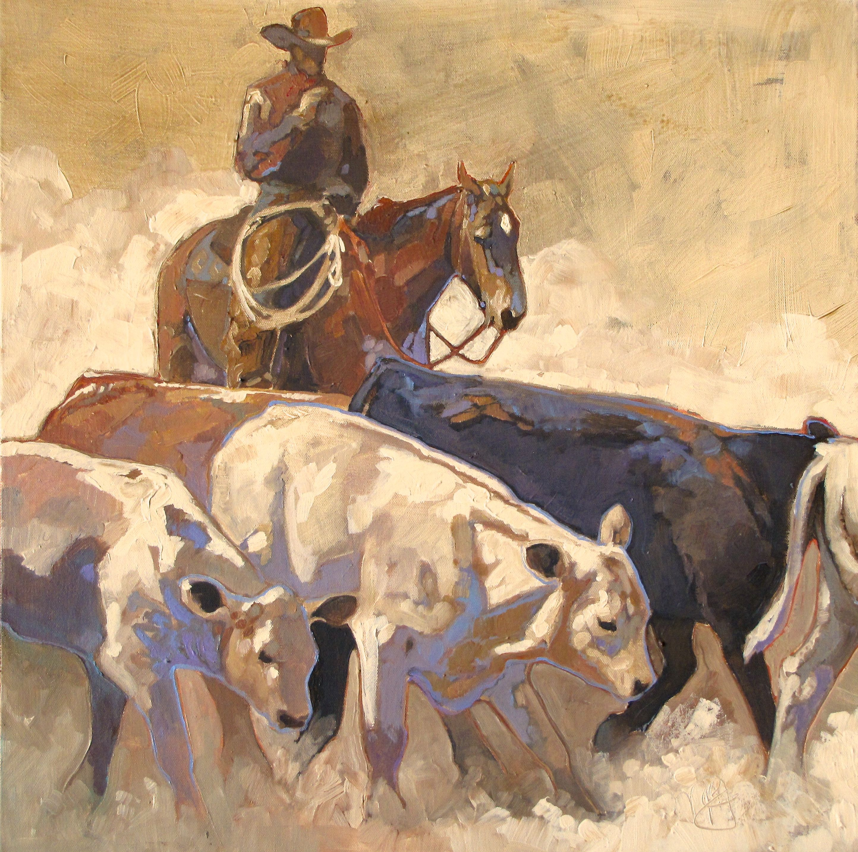 Move N Em 24x24 Acrylic On Canvas Cowboy Cattle Drive In