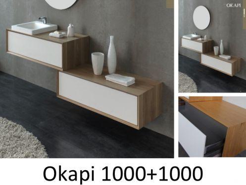 Meuble de salle de bain 100 cm, OKAPI 1000- Chêne Massif salle de - meuble salle de bain en chene massif