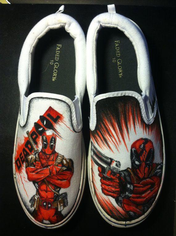 80943a79afa2 Hand draw Deadpool shoes by AlzadoCompany on Etsy Custom Shoes