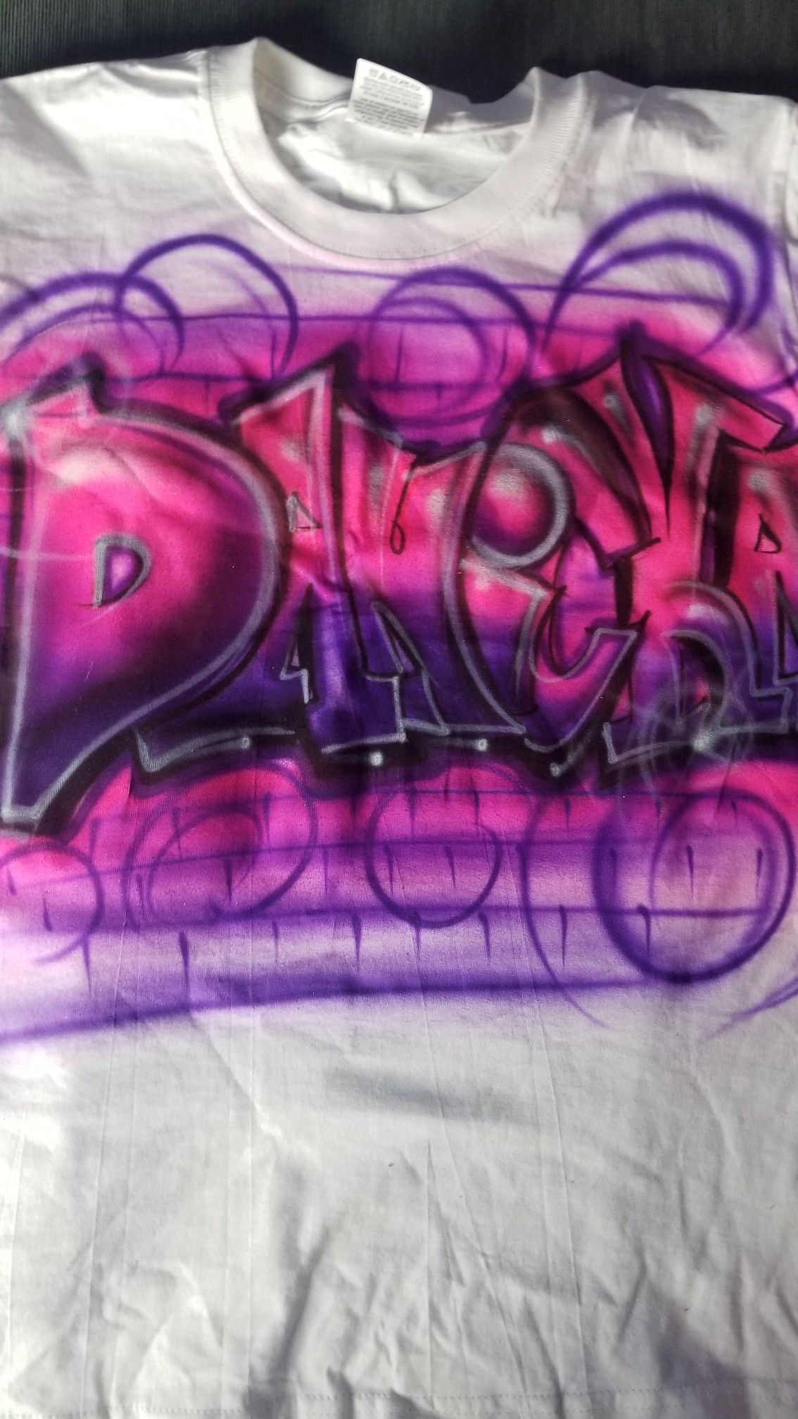 Graffiti Airbrush T Shirt Design Custom Painted In Neon Pink And