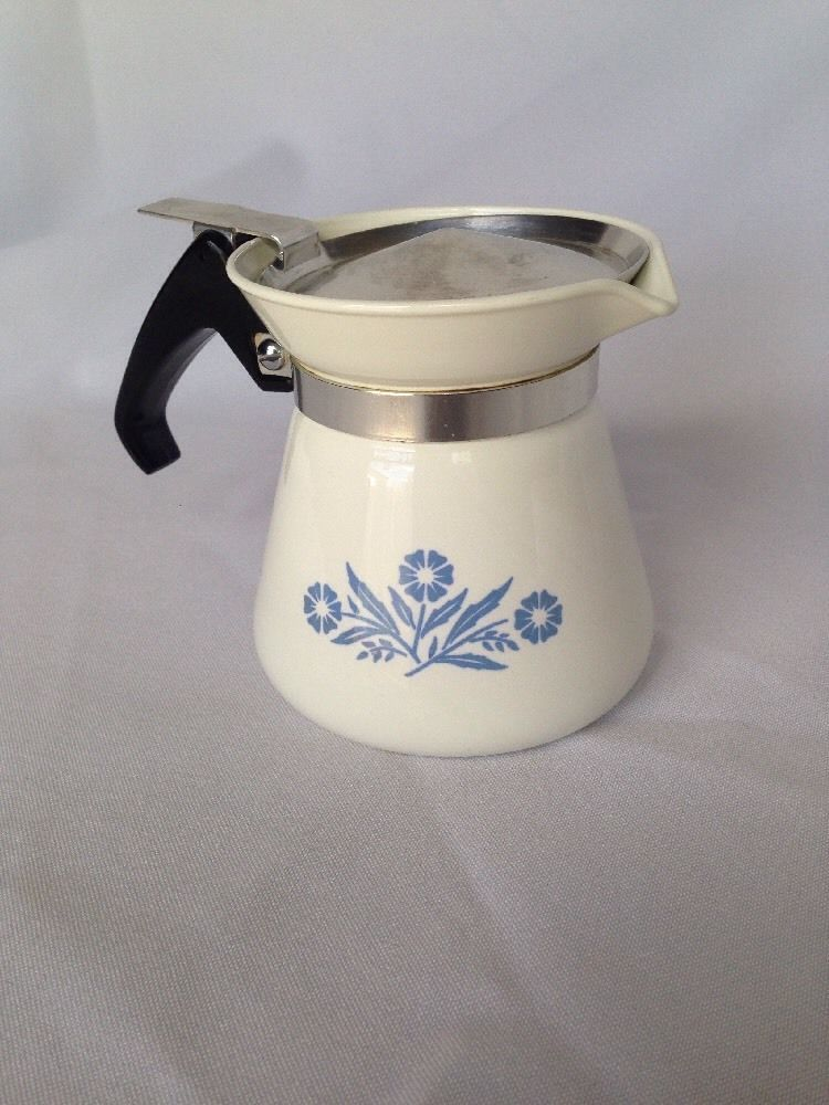 Extremely Rare Blue Cornflower Corning Ware 2 Cup Beverage Server Tea Coffee Pot Corningware