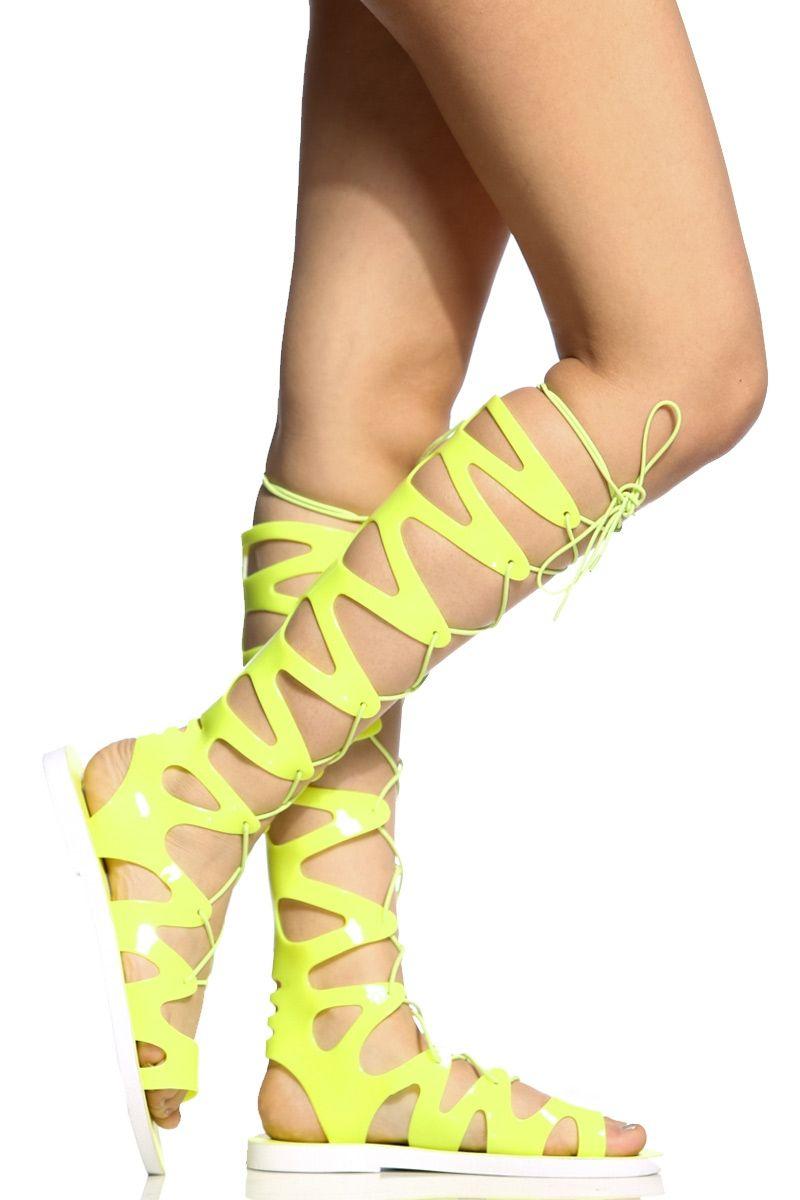 99de3ec82d4 Neon Yellow Jelly Lace Up Gladiator Sandals   Cicihot Sandals Shoes online  store sale Sandals
