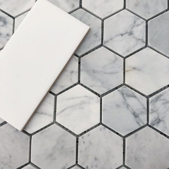 Ashford Carrara Polished Hex Marble Wall And Floor Tile 2